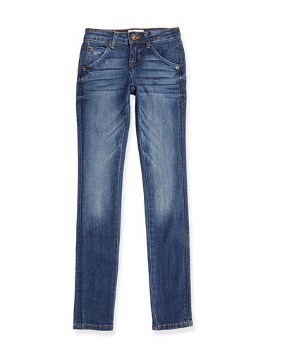 Collin Skinny Flap-Pocket Jeans, Dark Blue, 7-16