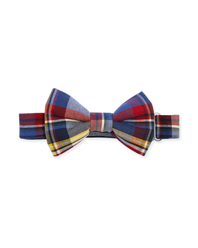 Baby Bow Tie Plaid Bow Tie, Blue/Red