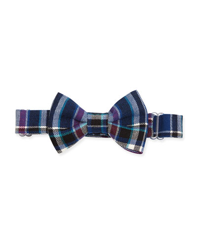 Plaid-Twill Bow Tie, Blue/Purple