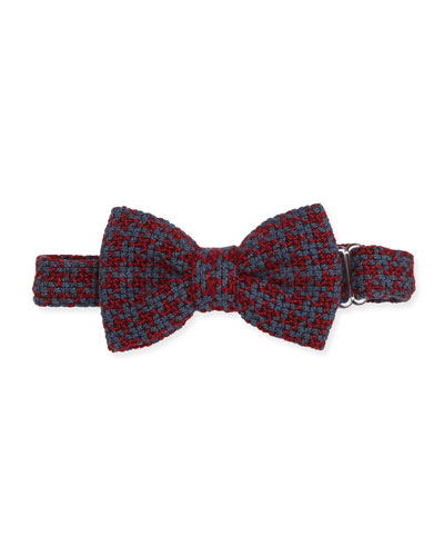 Baby Bow Tie Textured Houndstooth Bow Tie, Red/Gray