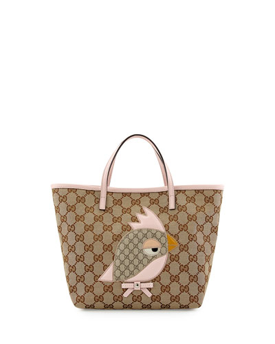 GUCCI Girls' GG Canvas Zoo Tote Bag, Pink