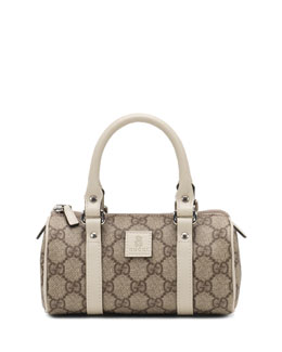 GUCCI Girls' Leather-Trim GG Plus Duffle Bag, White