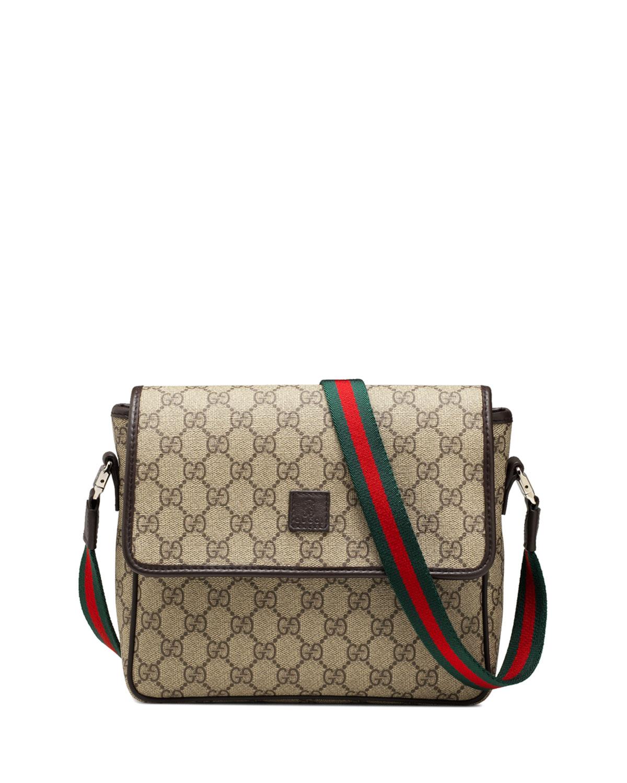 1cea5e9fdeea Gucci Girls' GG Supreme Messenger Bag, Beige/Brown | Neiman Marcus