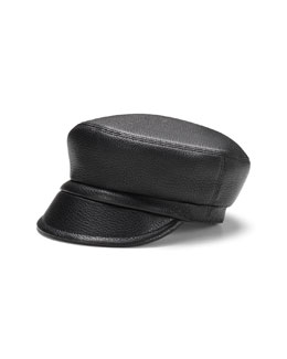 GUCCI Leather Newsboy Cap, Black