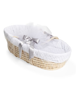 Swankie Blankie Moses Basket Set, White Dots