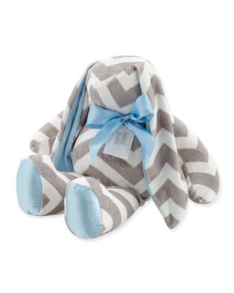 Swankie Blankie Large Plush Chevron Bunny, Slate/Blue