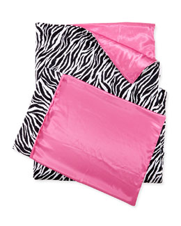 Swankie Blankie Zebra-Print Sleeping Bag & Pillowcase Set