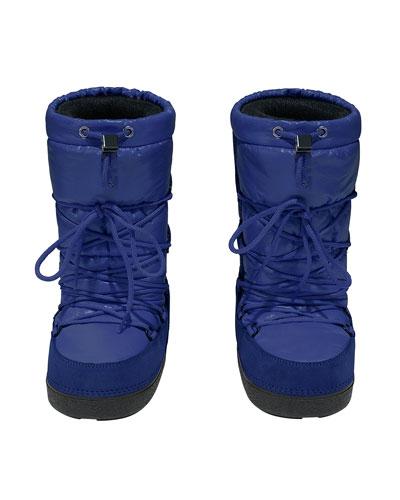 Tall Nylon Snow Boots, Blue