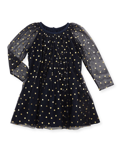 Stella McCartney Tulle Heart-Print Dress, Navy