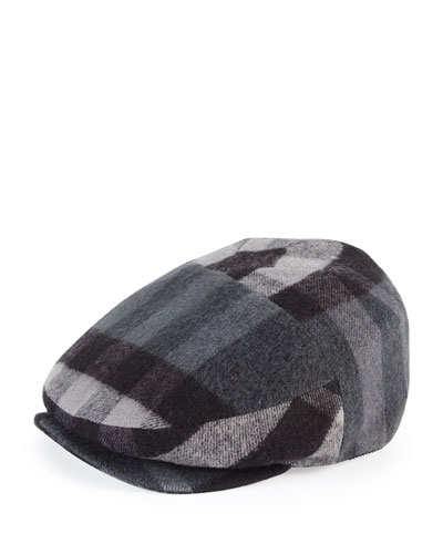 Burberry Child's Check Flannel Newsboy Cap, Charcoal