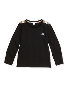 Burberry Check-Shoulder Long-Sleeve Tee, Black, 4Y-10Y