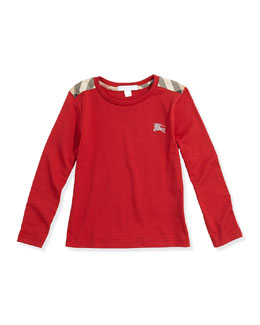 Burberry Check-Shoulder Long-Sleeve Tee, Red, 4Y-10Y