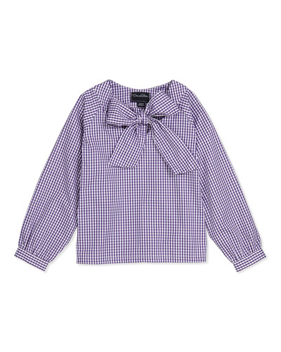 Oscar de la Renta Check Cotton Bow Blouse, Violet, 2Y-14Y