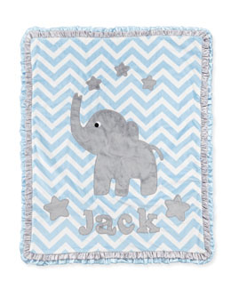 "Boogie Baby ""Big Foot"" Elephant Blanket, Blue"