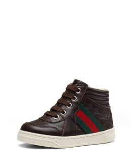 Gucci Leather High-Top Sneaker with Web Detail, Toddler Sizes
