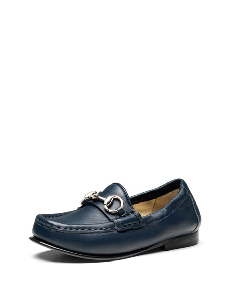 Gucci Boys' Leather Horsebit Loafer, Blue