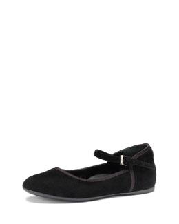 Gucci Girls' Suede Ballet Flat, Black, 10.5T-2Y