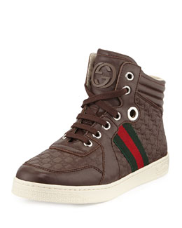 Gucci Junior Leather High-Top Sneaker, Brown