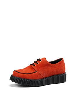 Gucci Junior Kidskin Suede Lace-Up Shoe, Orange
