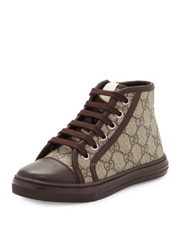Gucci GG Supreme Canvas High-Top Sneaker, Brown, Kids' Sizes 10.5T- 2Y