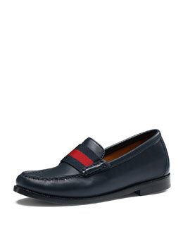 Gucci Junior Leather Loafer with Web Detail, Black