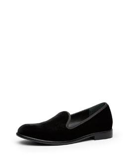 Gucci Junior Velvet Slip-On Loafer, Black