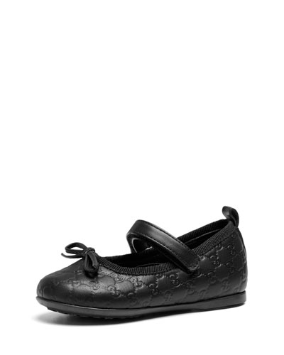 Gucci Toddler Guccissima Ballet Flat, Black