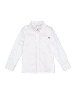 GUCCI Logo-Print Yoke Button-Front Shirt, White/Straw, Sizes NB-36 Months