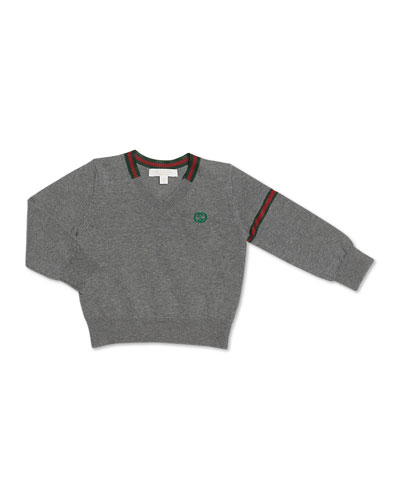 GUCCI Web-Detail V-Neck Sweater, 0-36 Months