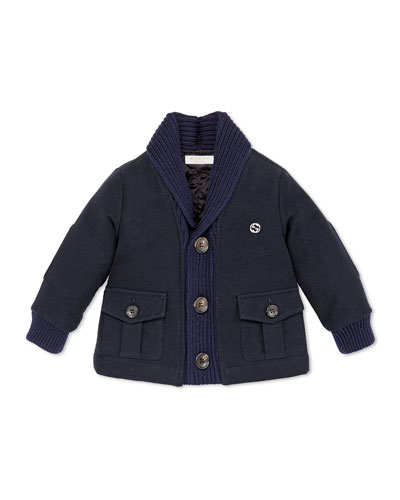 GUCCI Shawl-Collar Jacket, Navy, 12-36 Months