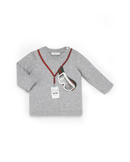 GUCCI Long-Sleeve Ski Tee, Gray, 0-36 Months