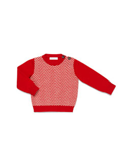 GUCCI Crewneck Herringbone Sweater, Red