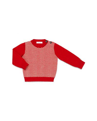 GUCCI Crewneck Herringbone Sweater, Red