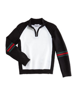 Gucci Contrast Wool Zip Cardigan, Black/White, 0-36 Months