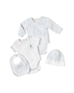 GUCCI 4-Piece Baby Boy Gift Set, White/Blue