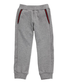 GUCCI Jersey Track Pants With Gucci Logo, Gray, Sizes NB-36 Months