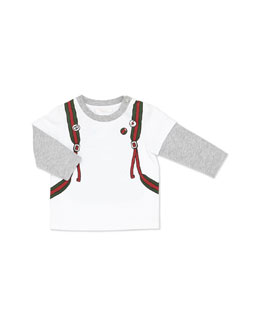 GUCCI Long-Sleeve Backpack-Print Tee
