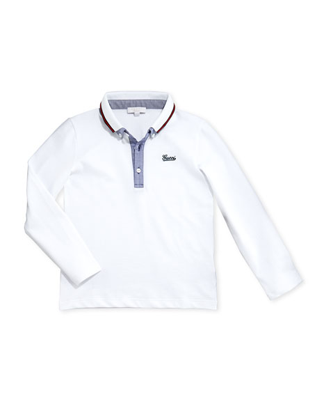 Gucci Stretch-Pique and Chambray Long-Sleeve Polo, White, 0-36
