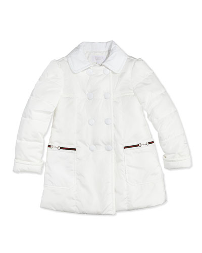 GUCCI Nylon Double-Breasted Jacket, White, 0-36 Months