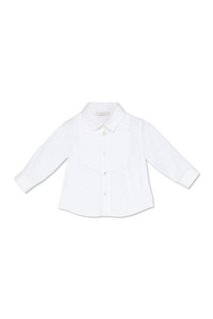 Gucci Stretch-Cotton Tuxedo Shirt, White, 3-36 Months