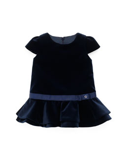 GUCCI Velvet Ruffle Dress with Satin Trim, Navy, Girls' 0-36 Months