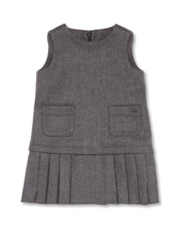 GUCCI Sleeveless Pleated Pocket Dress, Gray, Girls' 0-36 Months