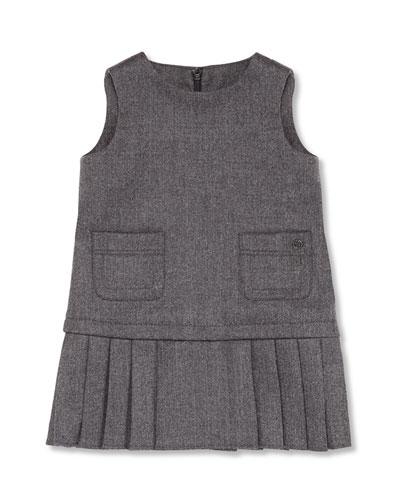 GUCCI Sleeveless Pleated Pocket Dress, Gray, Girls' 0-36 Months