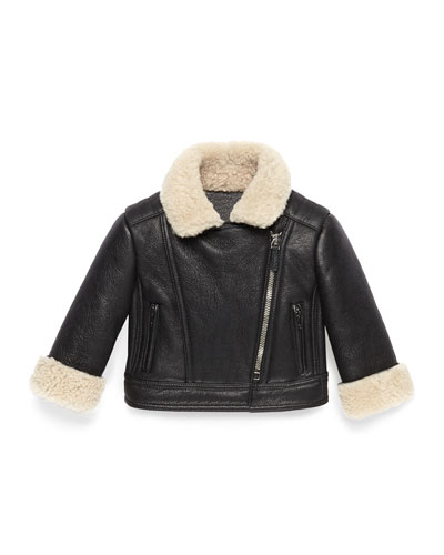 Gucci Lambskin Biker Jacket with Shearling Fur Trim