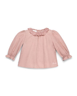 GUCCI Long-Sleeve Cotton-Muslin Dress, Pink, Girls' 0-36 Months