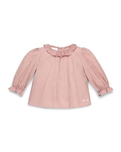 GUCCI Long-Sleeve Cotton-Muslin Dress, Pink, Girls' 0-36 Months