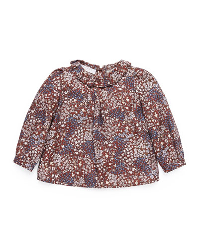 GUCCI Freesia-Print Long-Sleeve Shirt, Burgundy, Girls' 0-36 Months