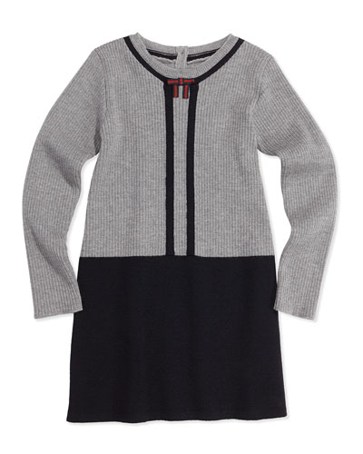 GUCCI Wool Contrast Long-Sleeve Dress, Gray, 0-36 Months