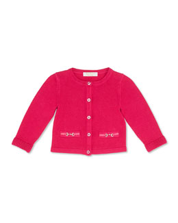 GUCCI Knit Horsebit Cardigan, Fuchsia, Girls' 0-36 Months