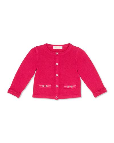 GUCCI Knit Horsebit Cardigan, Fuchsia, Girls' 0-36 Months